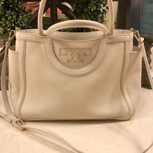 Tory Burch Fleming Satchel Winter White